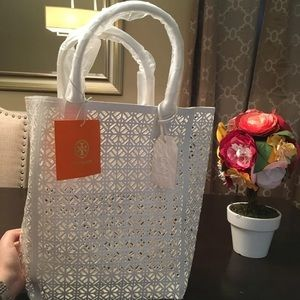 New Tory Burch White Perforated Tote Bag